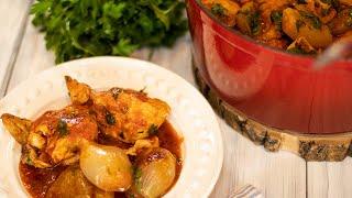 Greek Chicken & Shallot Stew: Kotopoulo Stifado