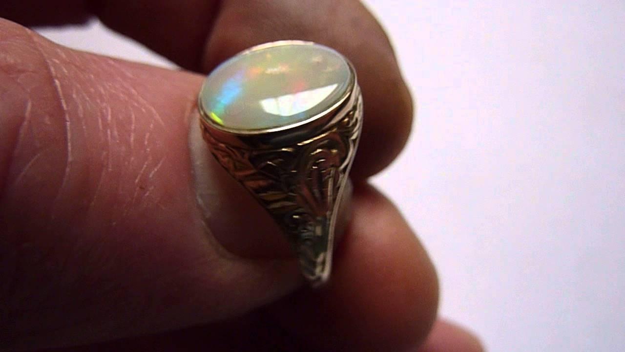 Vintage 9ct Gold Natural Multicolour White Spot MensGents Opal