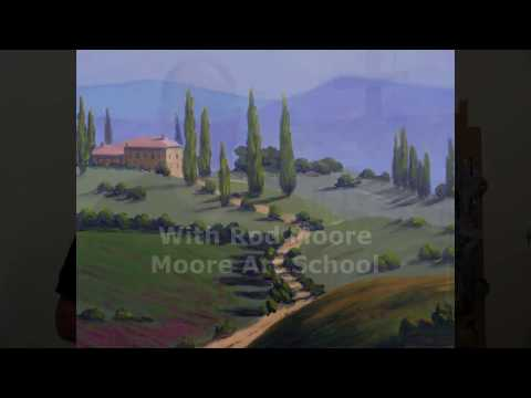 Acrylic Painting Project For Beginners - Tuscany Landscape #MooreMethod