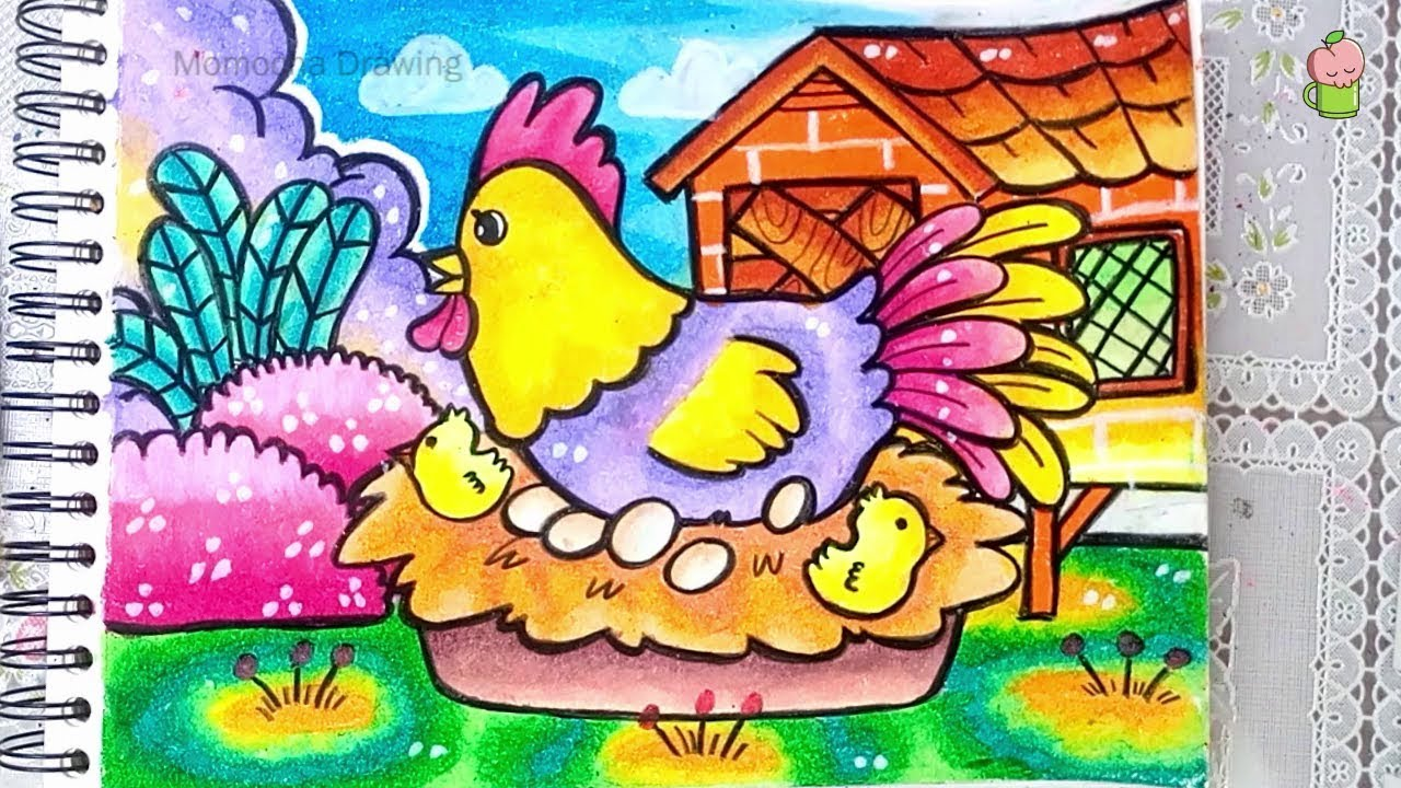 How To Draw And Color Chicken With Oil Pastel For Kids