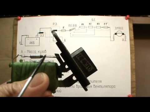 Отопитель ВАЗ - 2110; 11; 12. Схема включения вентилятора отопителя.