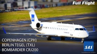 SAS CRJ200/CRJ 200 Full Flight - Copenhagen to Berlin Tegel(Full length, full flight video from gate to gate onboard SAS/Cimber Air Bombardier CRJ200 OY-RJK, operating flight SK679 from Copenhagen (CPH) to Berlin ..., 2015-03-19T17:18:59.000Z)