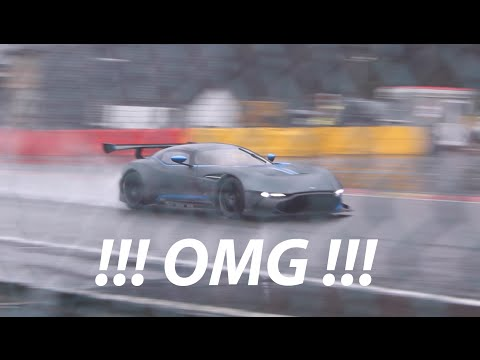 Aston Martin Vulcan!! Insane LOUD FLY BY on wet track! and Start-up