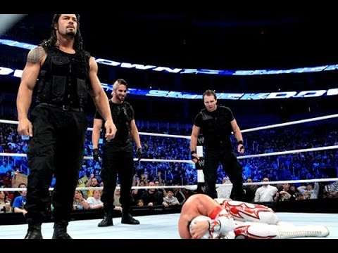 WWE The Shield VS Sin Cara And Rey Mysterio - مصارعه حرة فريق الشيلد - اخر حلقات المصارعه
