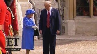 Trump Walks In Front Of The Queen