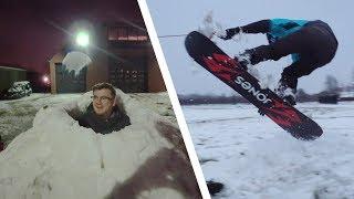 SNOWBOARDEN ACHTER TRACTOR & IGLO BOUWEN!
