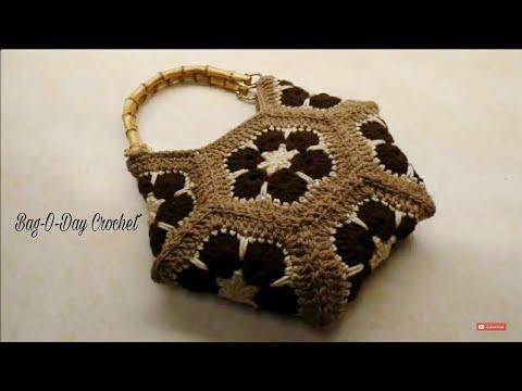 CROCHET How To #Crochet African Flower Hexagon Handbag Purse #TUTORIAL  #325 LEARN CROCHET