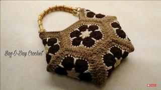 How To Crochet African Flower Hexagon Handbag Purse | Bag-O-Day Crochet TUTORIAL  #325