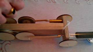 Stirling Dragster. Hot Air Car. Homemade Traction Engine Of Wood, Brass & Test Tube. Video