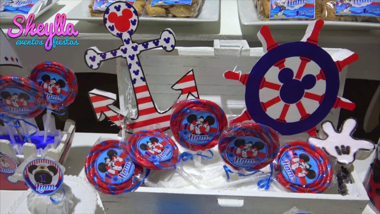 Decoración Temática De Mickey Marinero Fiesta De Niños Youtube