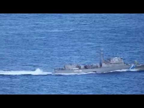 Hellenic Coast Guard OPV 080 Agios Efstratios patrolling in Aegean Sea.