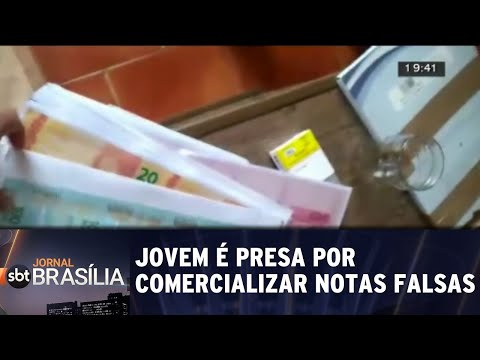 Jovem é presa por comercializar notas falsas | Jornal SBT Brasília 17/08/2018