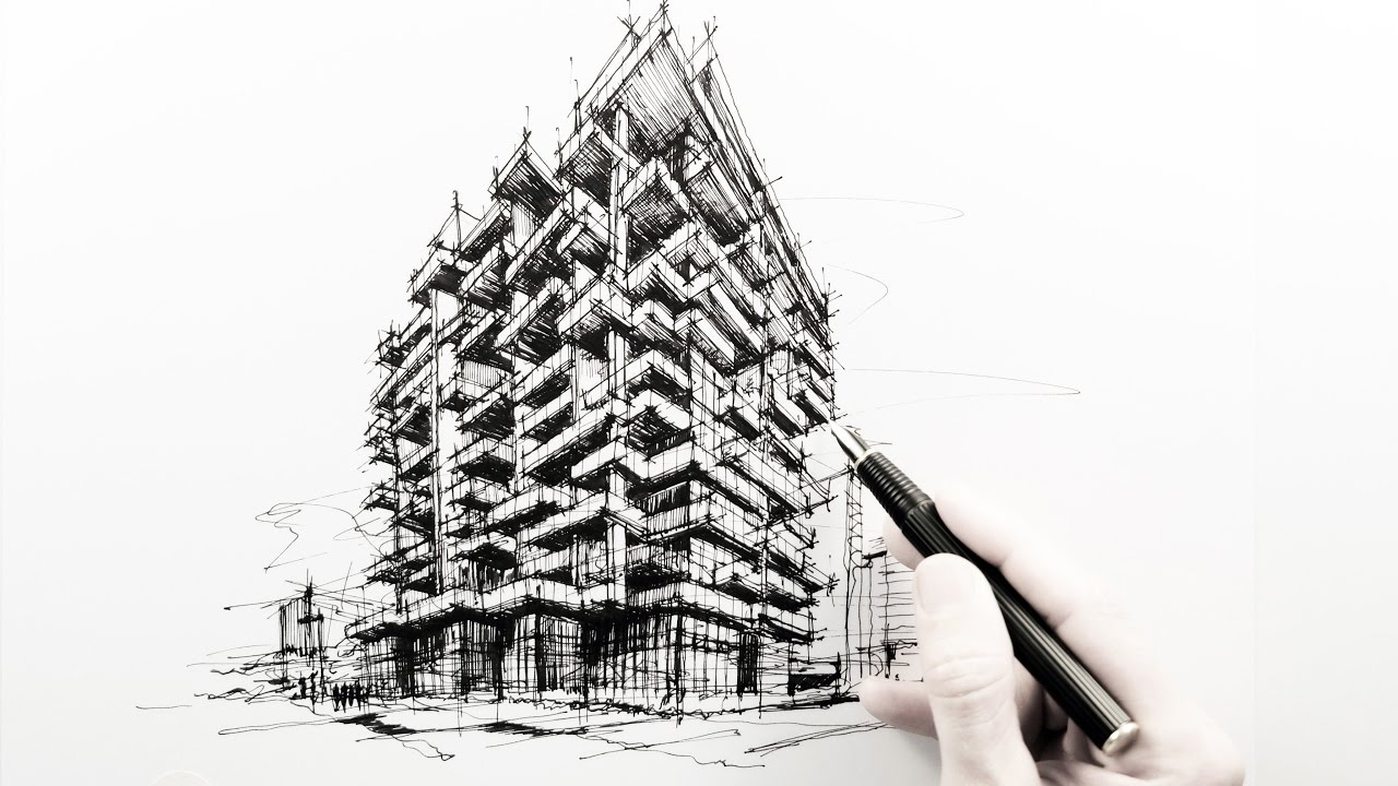 drawing an apartment building in dubai - youtube