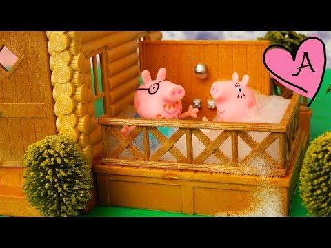 Abuela Pig cuida a Peppa y a George | Muñecas y juguetes con Andre para niñas y niños