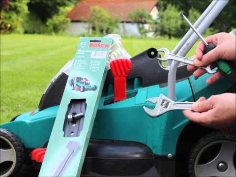 How to: replace / change blade of Bosch Rotak cordless electric Lawn mower 43, 40, 37, 34, 32, 36 LI