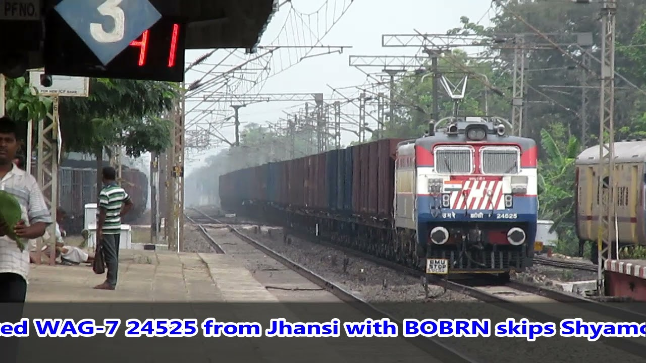 Bhubaneshwar Jan-Shatabdi chases and overtakes Freight||BHEL WAG-7 vs DLMW WAP-7