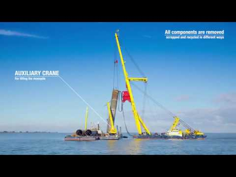 Timelapse dismantling of offshore wind farm Lely