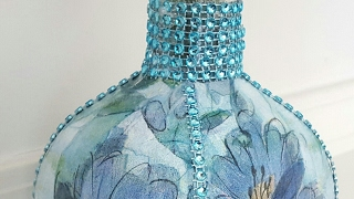 Diy Upcycled Bottle | Dollar Tree Napkins & Bling | Mod Podge