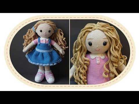 видео: Вязаная кукла крючком Розали, часть 8 (Волосы, ч.1). crochet doll rosalie, part 8 (hair, p.1).