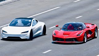 Tesla Roadster vs LaFerrari - Drag Race