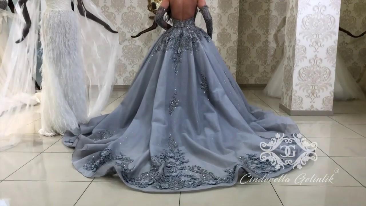 Wunderschöne Hochzeitskleider (grau)  Cinderella Gelinlik