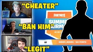 NINJA, TFUE, SYPHER And LUPO Reacts To Idrop Bodies Cheating in Fortnite Summer Skirmish Tournament