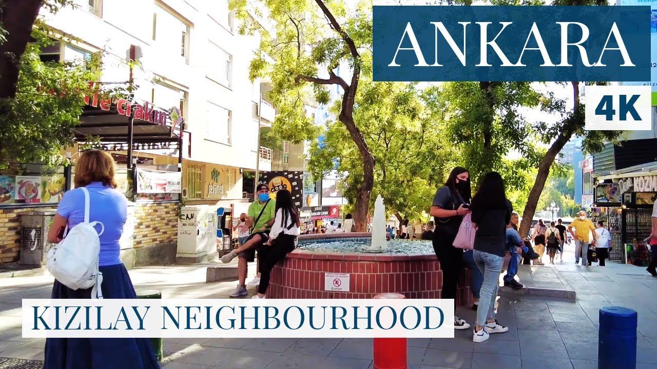 ANKARA Kızılay  Walking Tour In Famous District Of The Turkey Capital 1August 2021 4k UHD 60fps