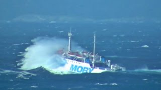 TRAGHETTO CONTROVENTO ferry upwind during a sea storm