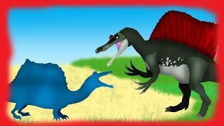Dinosaurs Cartoons Battles: Spinosaurus vs Quadrupedal Spinosaurus. Динозавры мультфильм