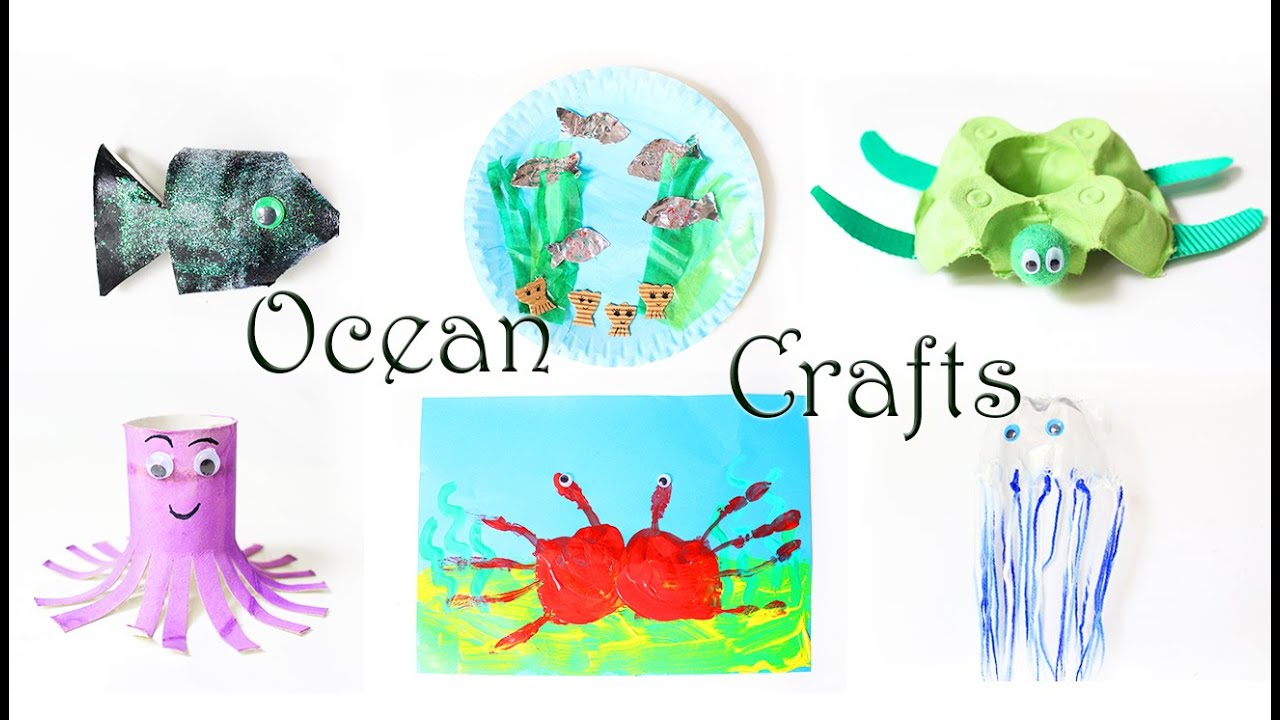 Qualle Basteln Crafts For Kids Upcycling Ocean Animals From Paper Plate Egg Carton Paper Rolls Fish Turtle