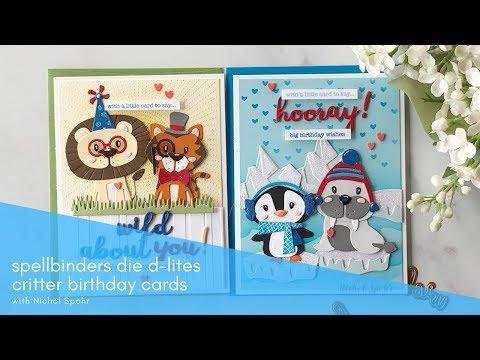 Spellbinders Die D-Lites Animal Birthday Scene Cards