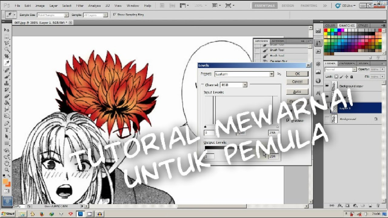Tutorial Cara Mewarnai Coloring Dasar Basic Photoshop Pemula Youtube