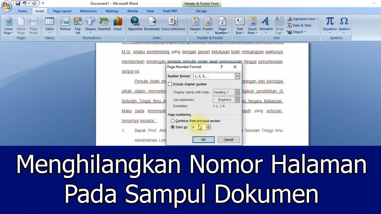 Tips Menghilangkan Nomor Halaman Pada Sampul Dokumen Pada Microsoft Word Jendela Tutorial Youtube