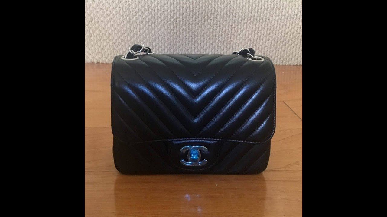 7c9ecc1f4a79 Unboxing Chanel Square Mini in Black Lambskin Chevron - YouTube