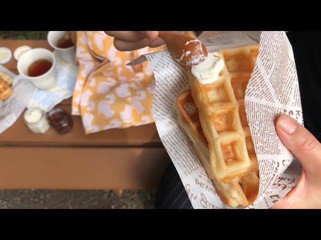 "YouTube video ""(Vegan) Butter &  Nutella & gluten-free Waffle"" / ""(ヴィーガン)バター&ヌテラ&グルテンフリーワッフル"""