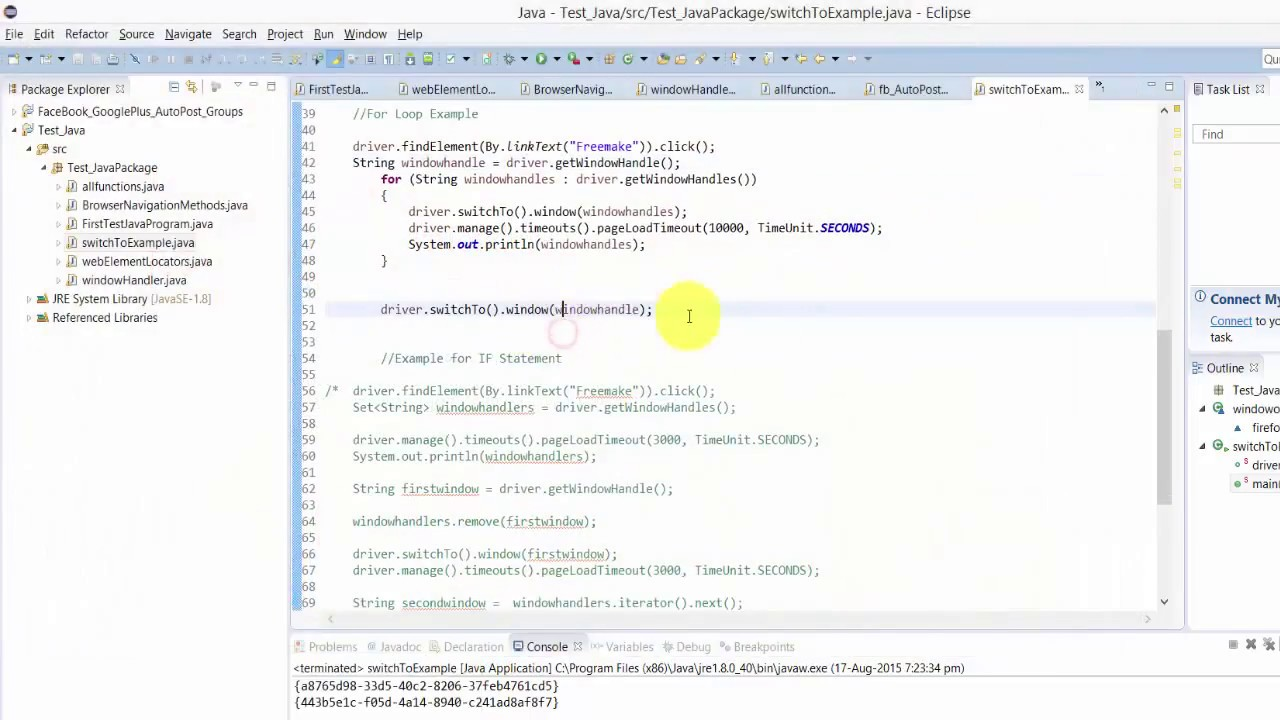Step by Step Selenium Tutorial with JAVA - SwitchTo browser with FOR Loop  and IF Statement - P11