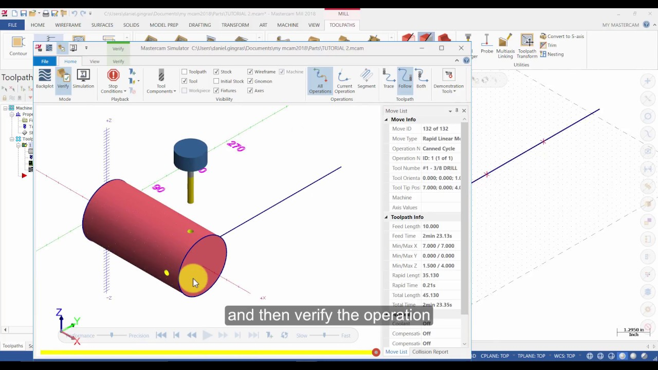 Mastercam 2018 Multiaxis Essentials Tutorial 2 - Drill 4 Holes with Axis  Substitution (Captioned)