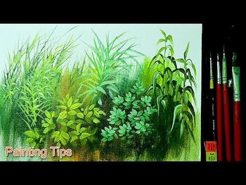 Acrylic Painting Lesson - How to Paint Grasses and Other Plants by JMLisondra