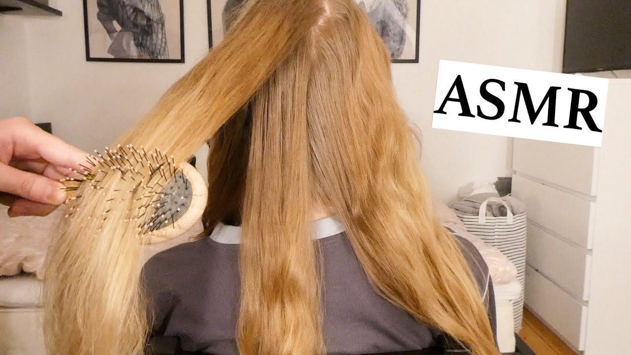 ASMR hair play for deep relaxation 💚 hair parting, brushing, pulling & twisting (no talking)