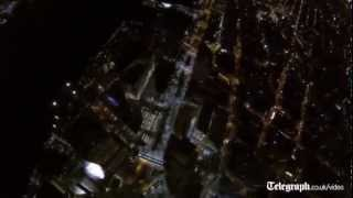 First-person view of One World Trade Center base jump