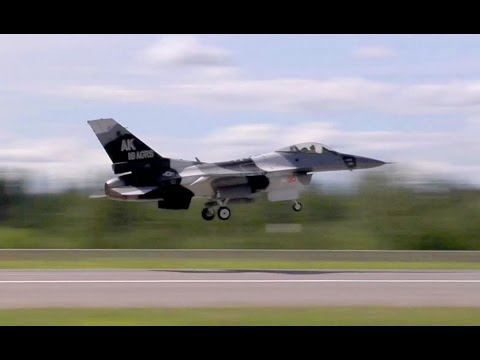 USAF Aggressor F-16s in Soviet-style Camouflage. Taxiing & Takeoff.