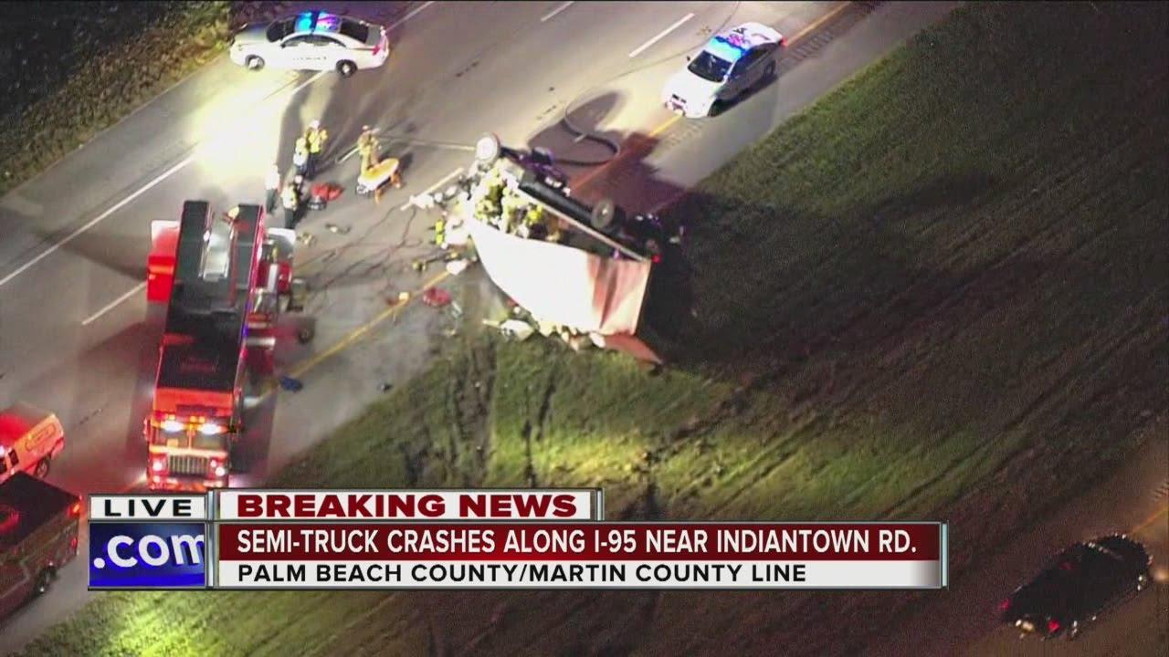 Semi crash blocking I-95 northbound north of Indiantown Road