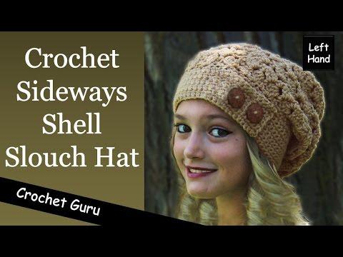 Crochet Slouchy Hat Pattern Sideways Shell Hat Pattern Left