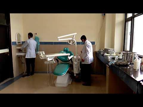 Dentist cleaning dental lab