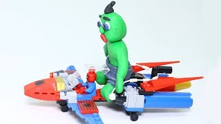 Superhero With Lego SUPERMOBILE SAVES GREEN BABY - Stop Motion Cartoons For Kids