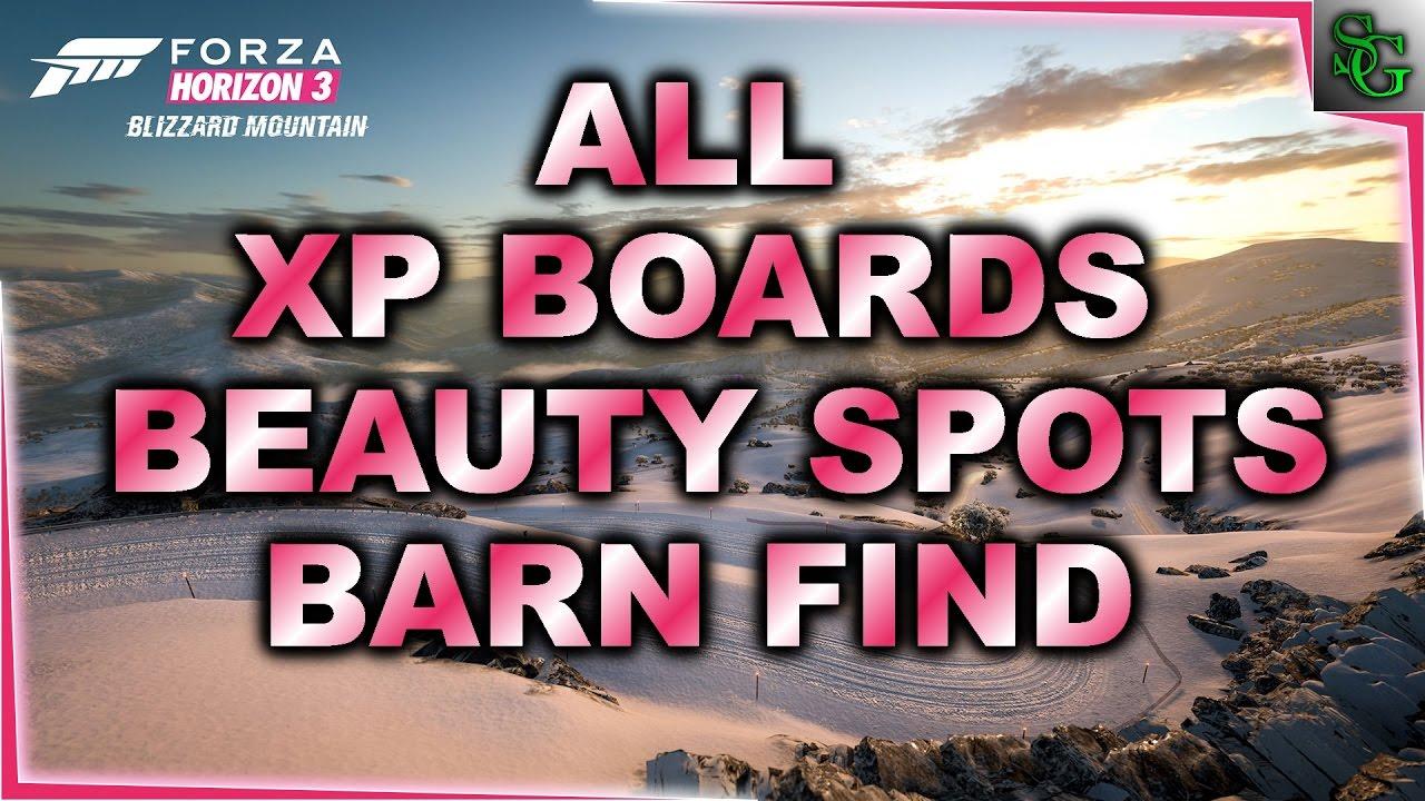 forza horizon 3 blizzard mt all xp boards barn finds. Black Bedroom Furniture Sets. Home Design Ideas