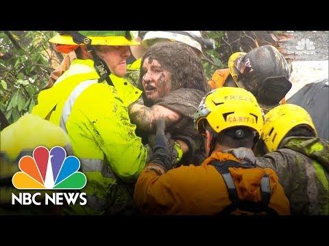 Firefighters In Montecito California Rescue Girl Trapped In Mudslide Rubble | NBC News