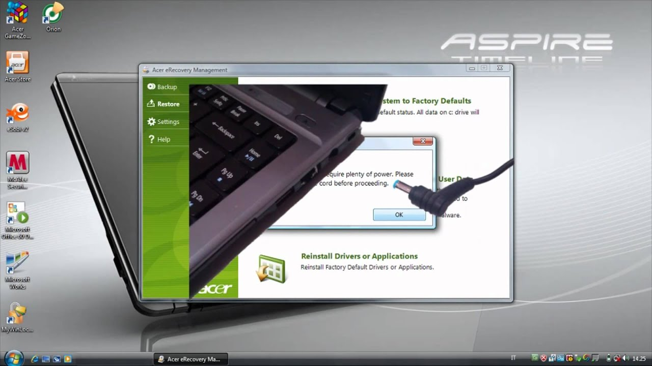acer aspire 5250 windows 7 recovery
