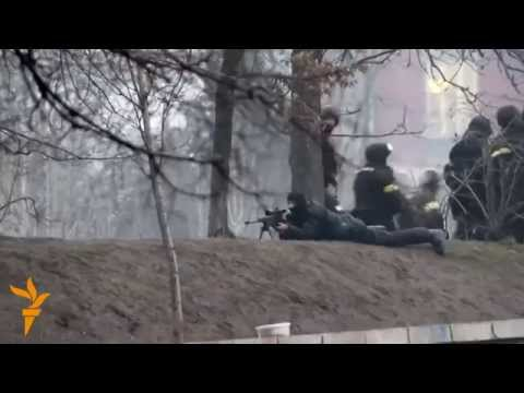 Ukraine Pro-Yanukovych Special Forces fire at Protesters in Kyiv
