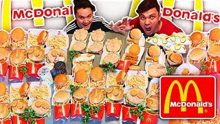 ENTIRE MCDONALD'S CHRISTMAS MENU IN 10 MINUTES CHALLENGE